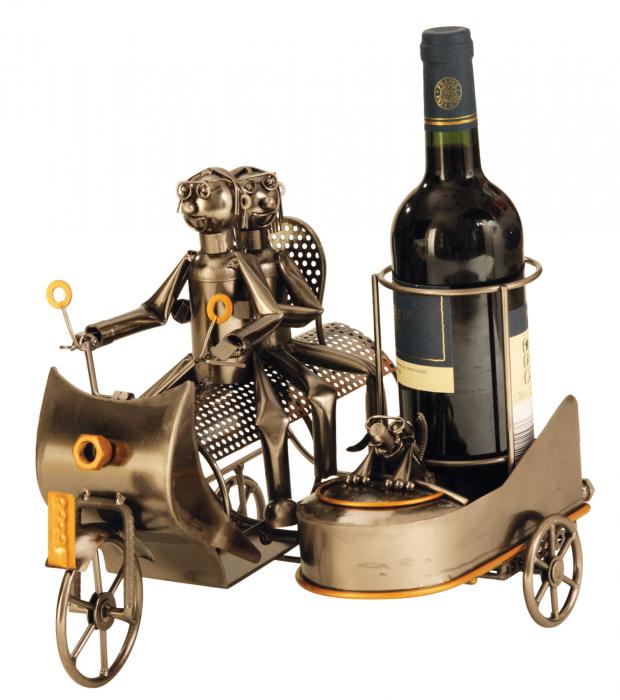 Suport modern de Sticle Vin, NAGO, model Motocicleta cu Atas, Metal Lucios, Maro/Negru, capacitate 1 Sticla, H 27 cm 0