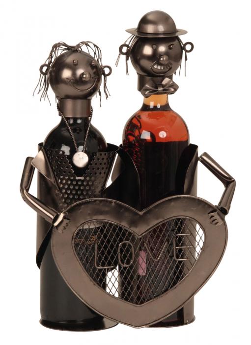 Suport modern de Sticle Vin, NAGO, model cuplu de indragostiti, cu inima LOVE, Metal Lucios, Maro/Negru, capacitate 2 Sticla, H 32 cm, I 24 cm 0