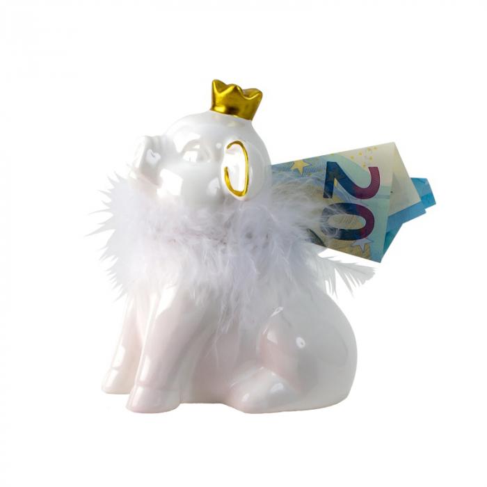 Pusculita din Ceramica, NAGO, Porcusor Alb, Printesa cu Coroana aurie si cu fular din Pene, H12.5 cm 0