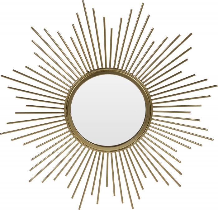 Oglinda de perete din Metal cu rama Aurie, model Soare, D 32.5 cm [0]