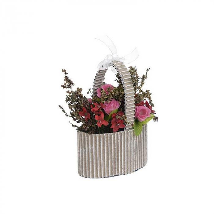 Aranjament Flori Artificiale, in cosulet de carton, Rosu, H 10 cm 1