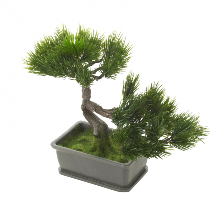 Bonsai artificial 23cm verde inchis tip pin 6