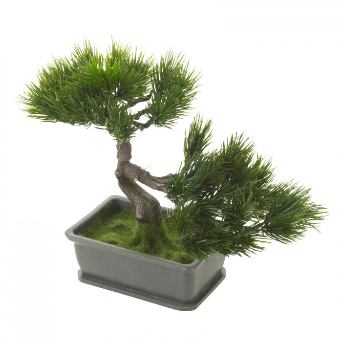 Bonsai artificial 23cm verde inchis tip pin 2
