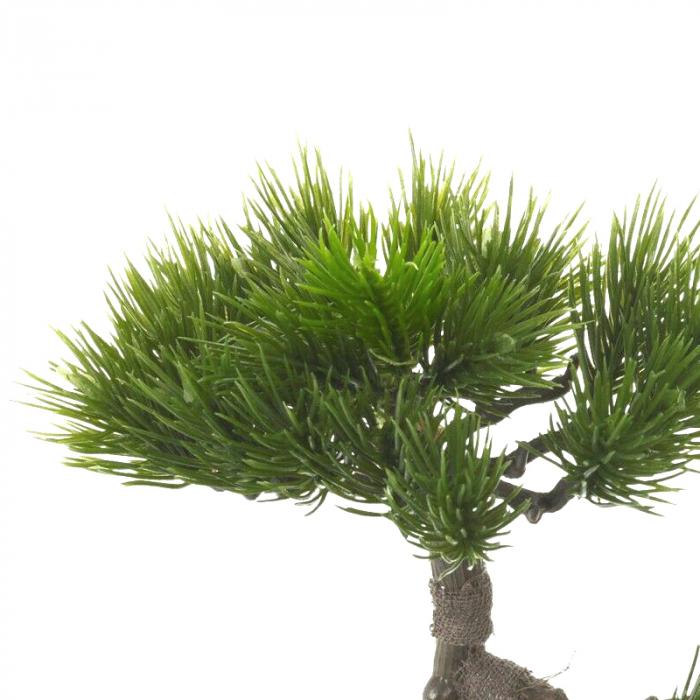 Bonsai artificial 23cm verde inchis tip pin 5