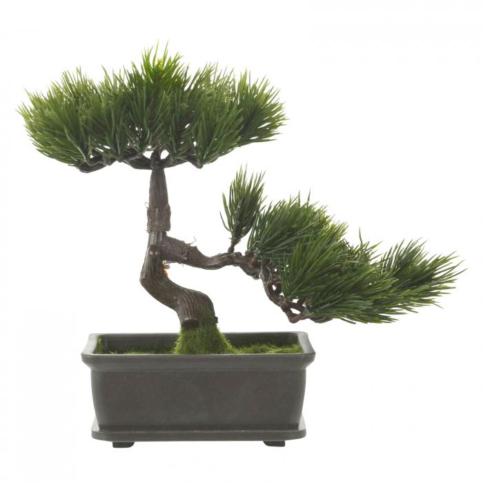 Bonsai artificial 23cm verde inchis tip pin 1