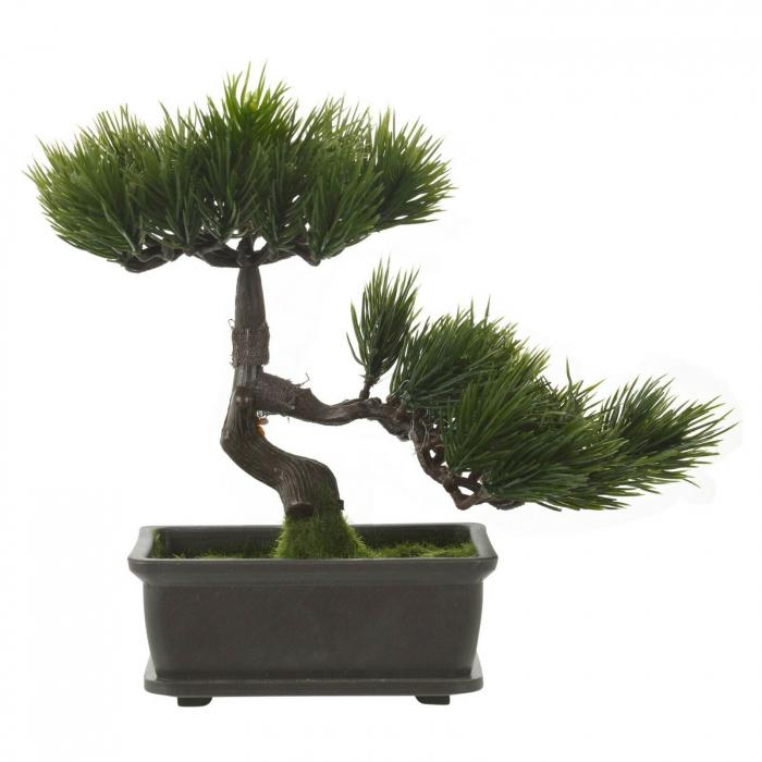 Bonsai artificial 23cm verde inchis tip pin 12