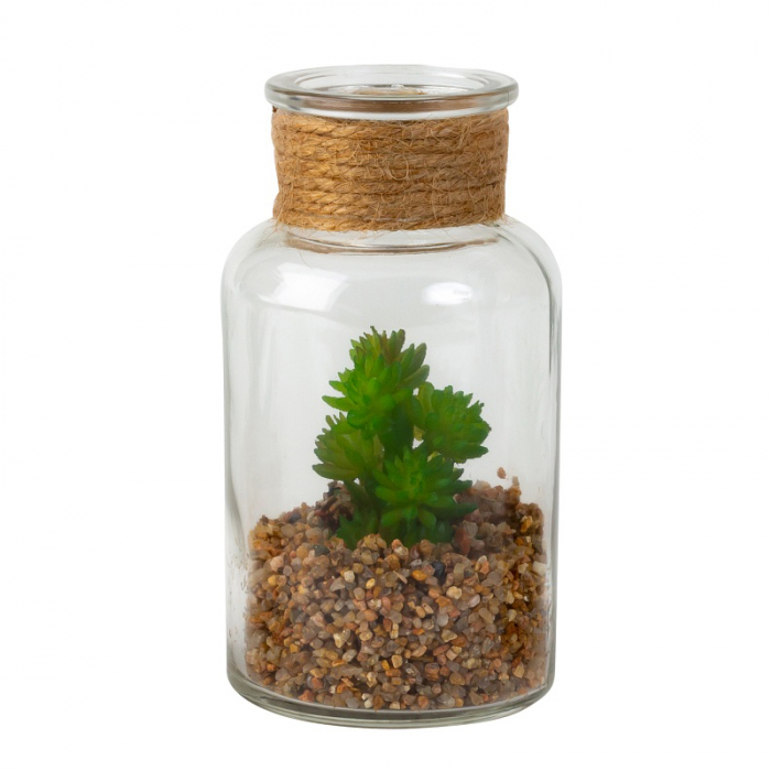 Aranjament planta artificiala, cu Nisip in Borcan de Sticla, Decorativ, NAGO, 13x7cm, Verde/Transparent 1
