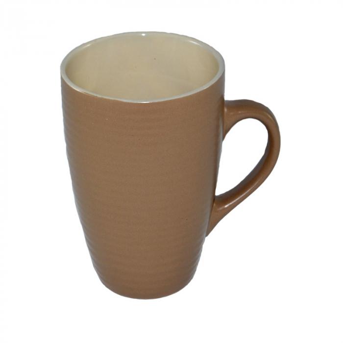 Cana ceramica, cu aspect mat, 300 ml, ceasca pentru lapte, ceai, cafea, Maro 0
