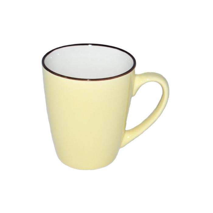 Cana de portelan, culoare galbena, 225 ml 1
