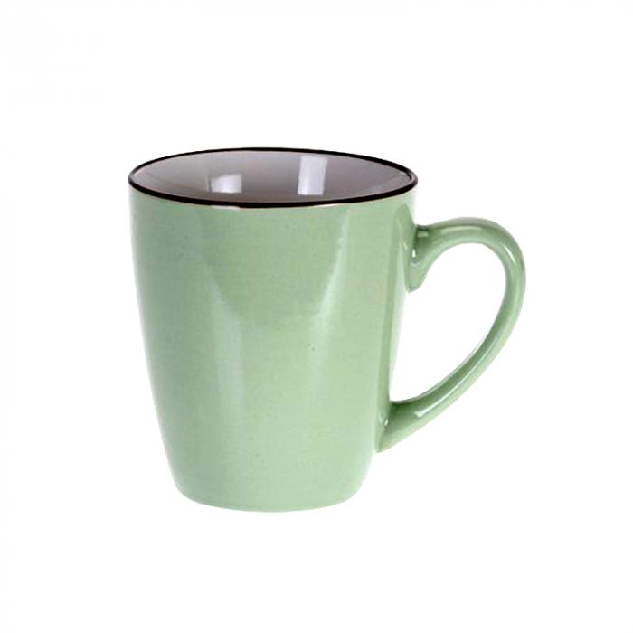 Cana de portelan, culoare verde, volum 225 ml 0