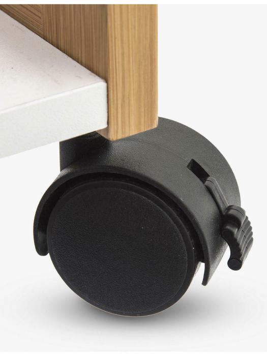 Carucior cu 4 roti, din bambus, pe trei niveluri, 80 cm, Bej/Alb 6