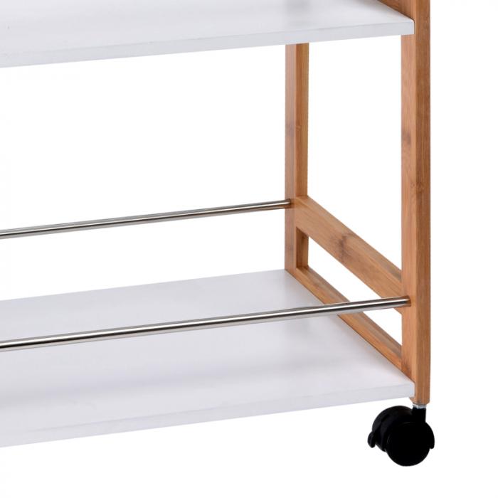 Carucior cu 4 roti, din bambus, pe trei niveluri, 80 cm, Bej/Alb 5