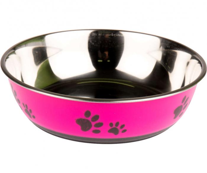 Castron inox Roz, pentru apa sau mancare catei, cu model labute, baza Antiderapanta, D 22 cm [1]