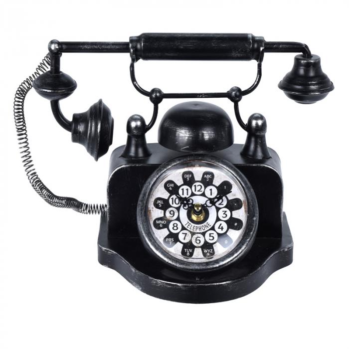 Ceas de masa din metal, model telefon Retro, Negru, 31x17x20cm, G 935 g 0