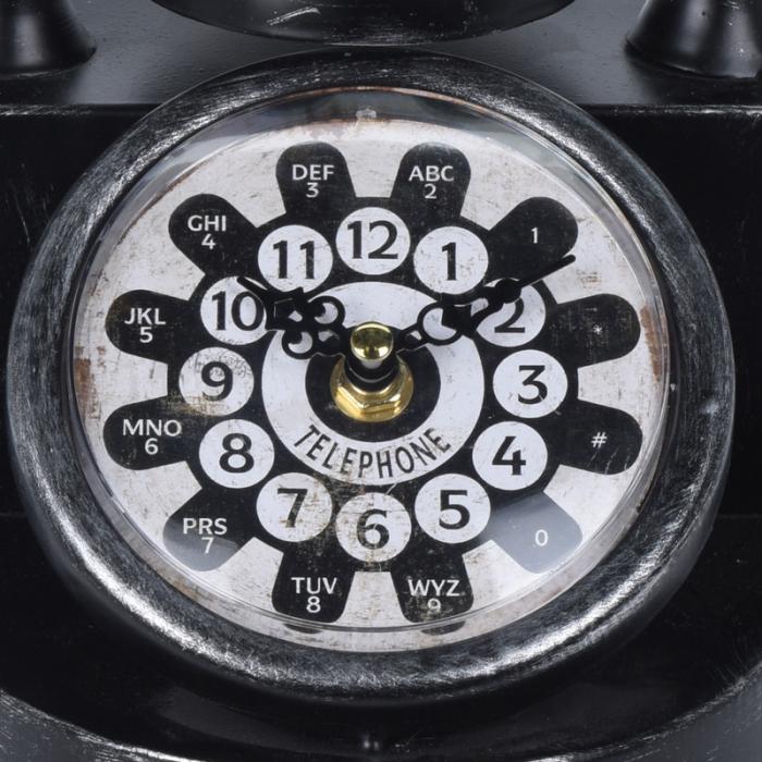 Ceas de masa din metal, model telefon Retro, Negru, 31x17x20cm, G 935 g 1