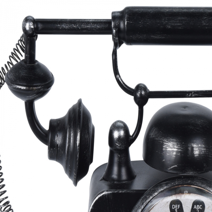 Ceas de masa din metal, model telefon Retro, Negru, 31x17x20cm, G 935 g 2
