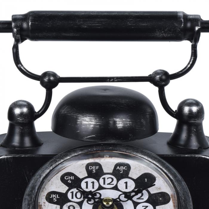 Ceas de masa din metal, model telefon Retro, Negru, 31x17x20cm, G 935 g 5