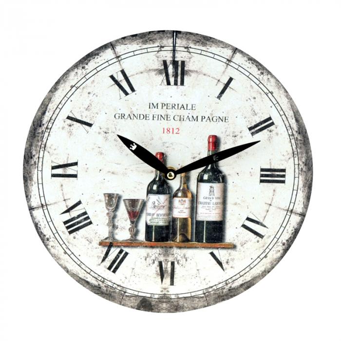 Ceas de perete alb cu model sticla de vin model 0