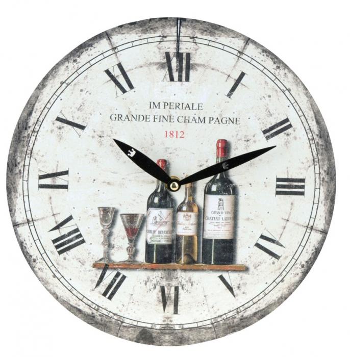 Ceas de perete alb cu model sticla de vin model 1