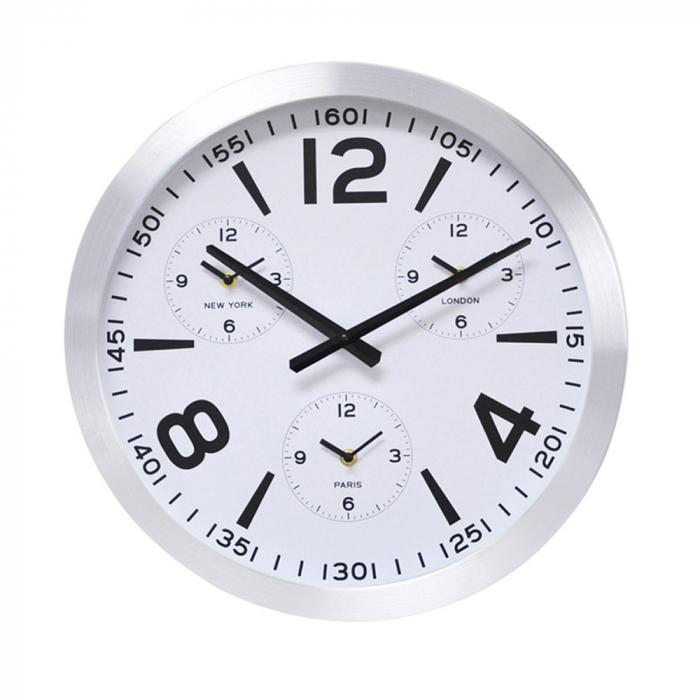 Ceas de perete din Aluminiu, 45.5x5.4cm, cadran Alb, rama groasa argintie 0