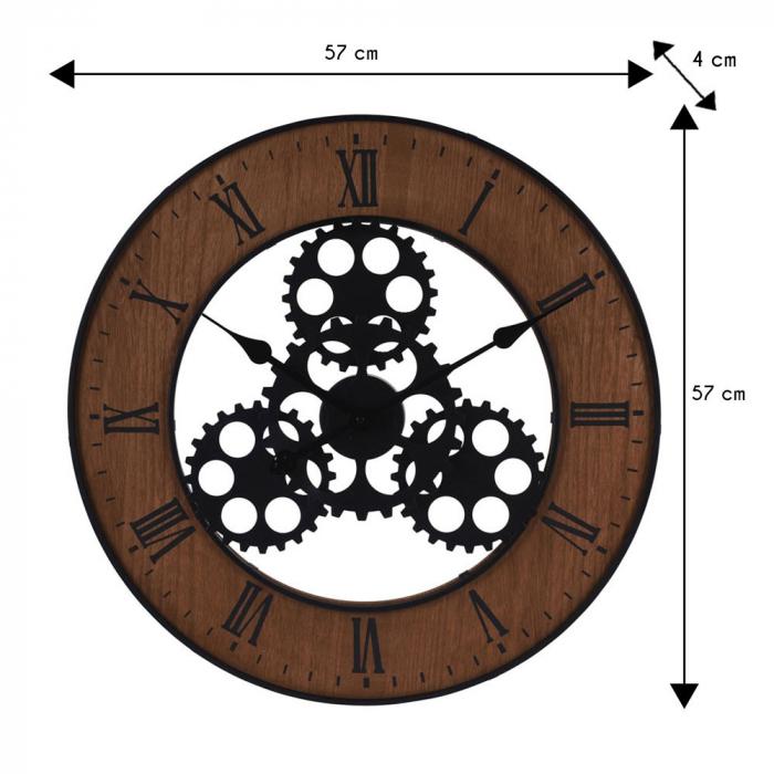 Ceas de perete, din metal si MDF, design industrial, diametru 57cm, grosime 4cm, Maro 3