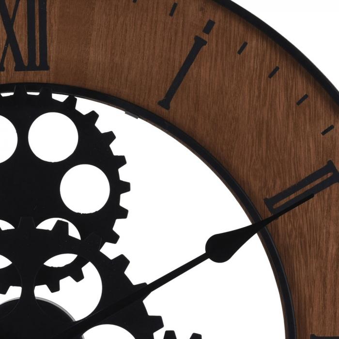 Ceas de perete, din metal si MDF, design industrial, diametru 57cm, grosime 4cm, Maro 2