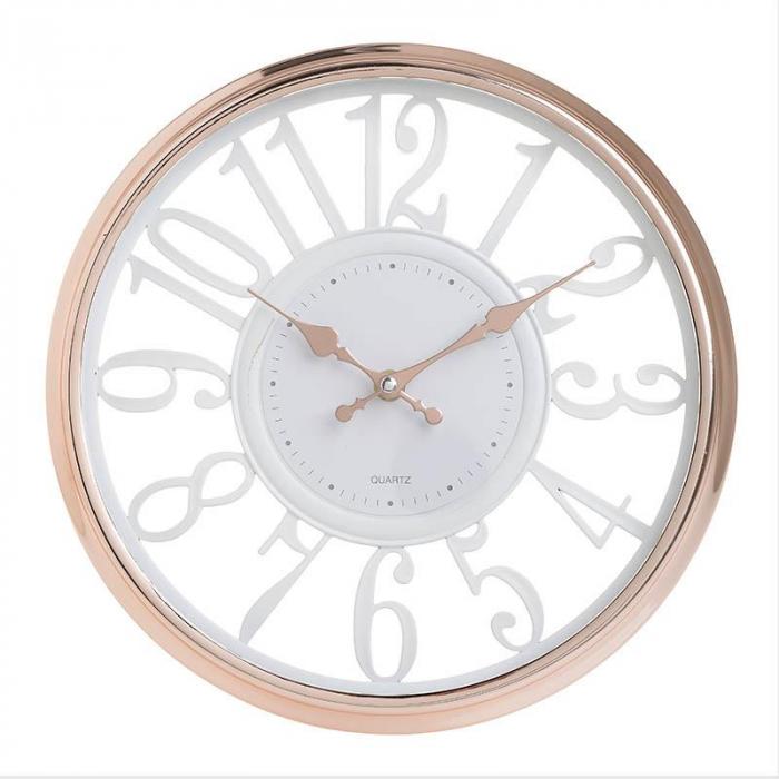 Ceas de perete rama plastic culoarea bronz diametru 30.5 cm 0