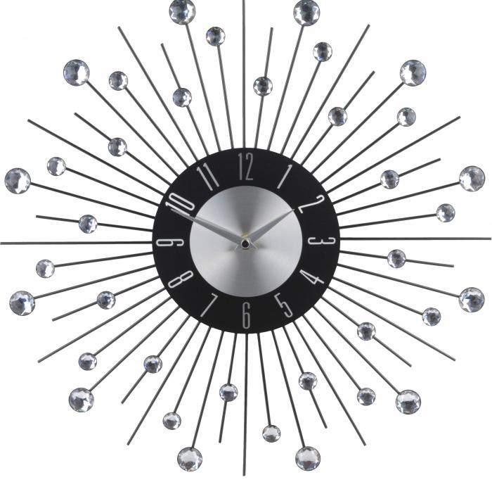 Ceas metal de perete, cu pietre acrilice, design modern, 42x42x4cm, Aluminiu [3]