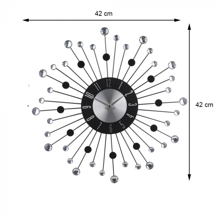 Ceas de metal, cu pietre acrilice transparente si negre, de perete, design modern, 42x42x4cm, Aluminiu 1