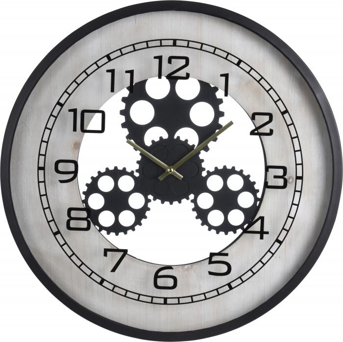 Ceas de perete din metal si MDF, 48x6cm , Negru cu Alb [1]