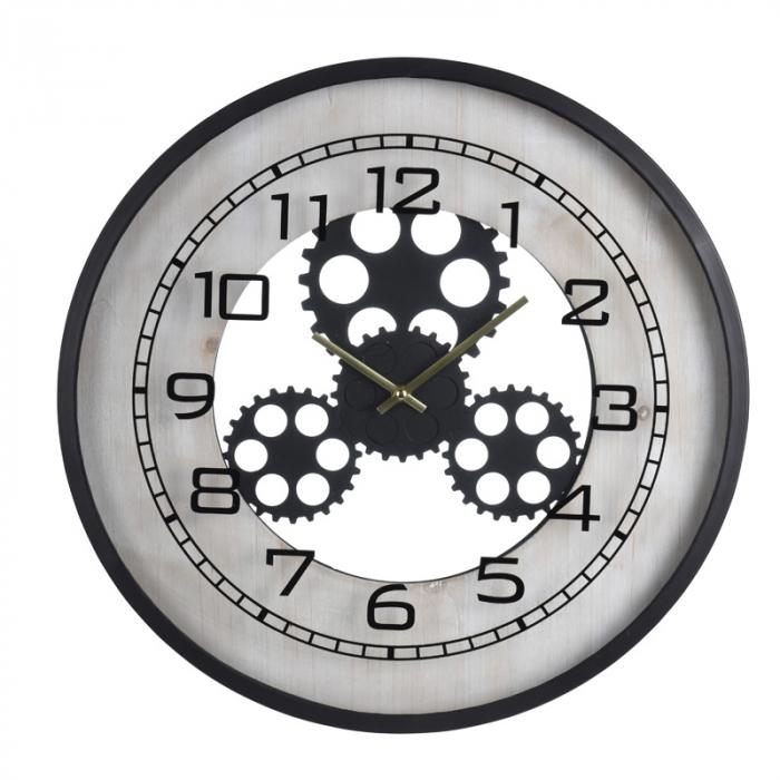 Ceas de perete din metal si MDF, 48x6cm , Negru cu Alb [2]