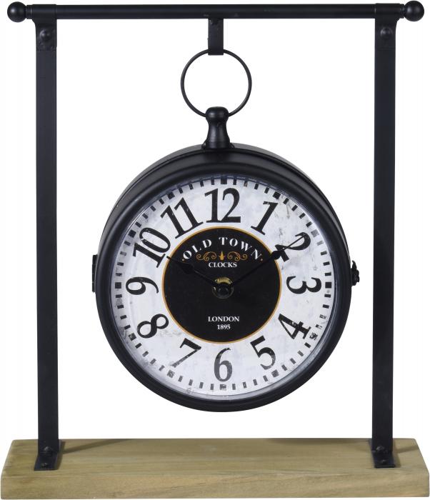 Ceas negru cu alb din metal pe suport  27x10x31cm 1