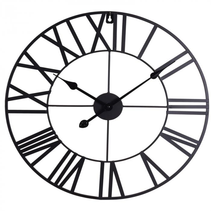 Ceas de Perete, din metal, stil Vitange, Negru, 57x3cm 0