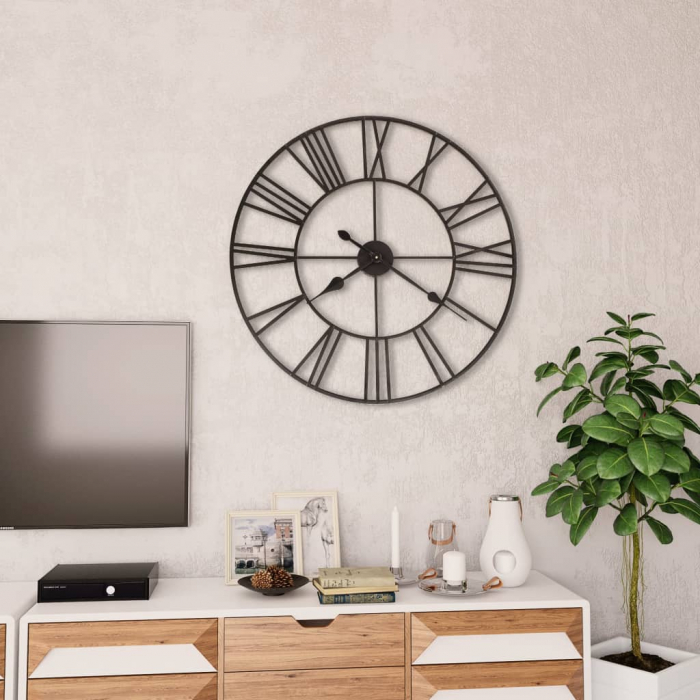Ceas de Perete, din metal, stil Vitange, Negru, 57x3cm 1