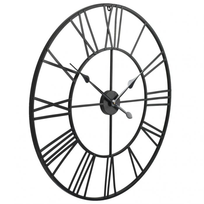Ceas de Perete, din metal, stil Vitange, Negru, 57x3cm 2