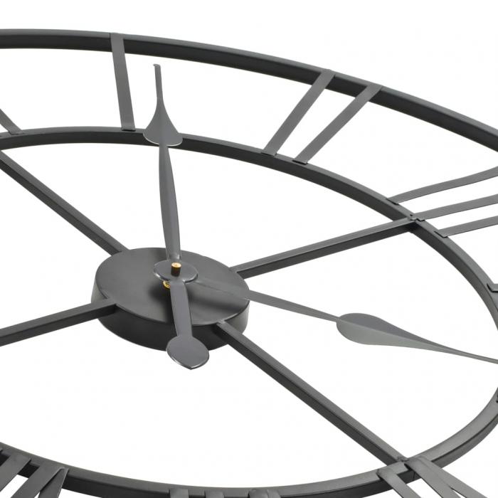 Ceas de Perete, din metal, stil Vitange, Negru, 57x3cm 3