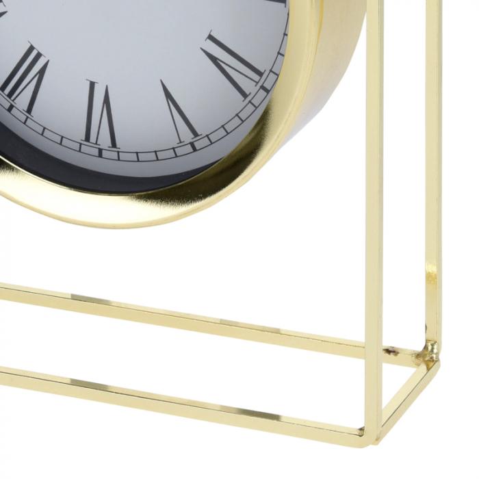 Ceas pe suport metal, stil elegant, 19x5.8x25 cm, Auriu 4