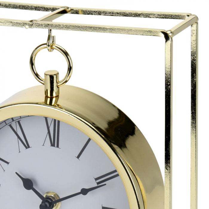 Ceas pe suport metal, stil elegant, 19x5.8x25 cm, Auriu 3