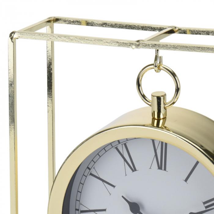 Ceas pe suport metal, stil elegant, 19x5.8x25 cm, Auriu 2