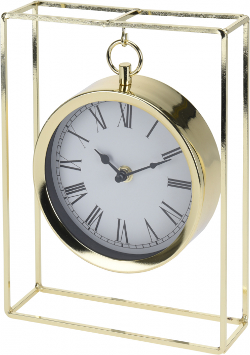 Ceas pe suport metal, stil elegant, 19x5.8x25 cm, Auriu 1