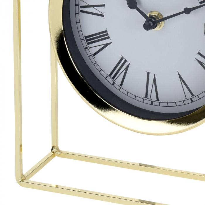Ceas pe suport metal, stil elegant, 19x5.8x25 cm, Auriu 5