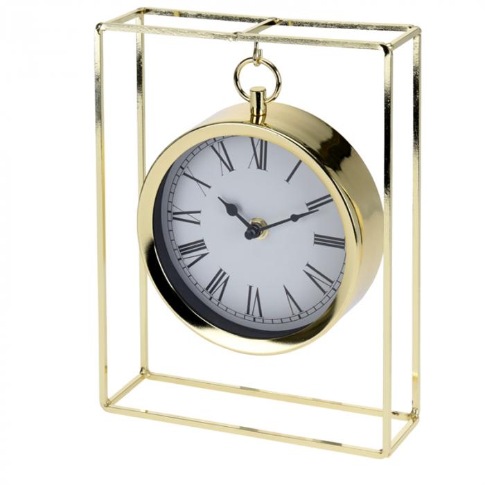 Ceas pe suport metal, stil elegant, 19x5.8x25 cm, Auriu 0