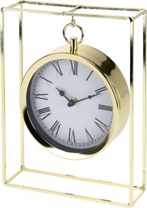 Ceas pe suport metal, stil elegant, 19x5.8x25 cm, Auriu 8