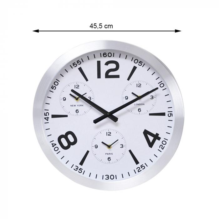 Ceas de perete din Aluminiu, 45.5x5.4cm, cadran Alb, rama groasa argintie 3