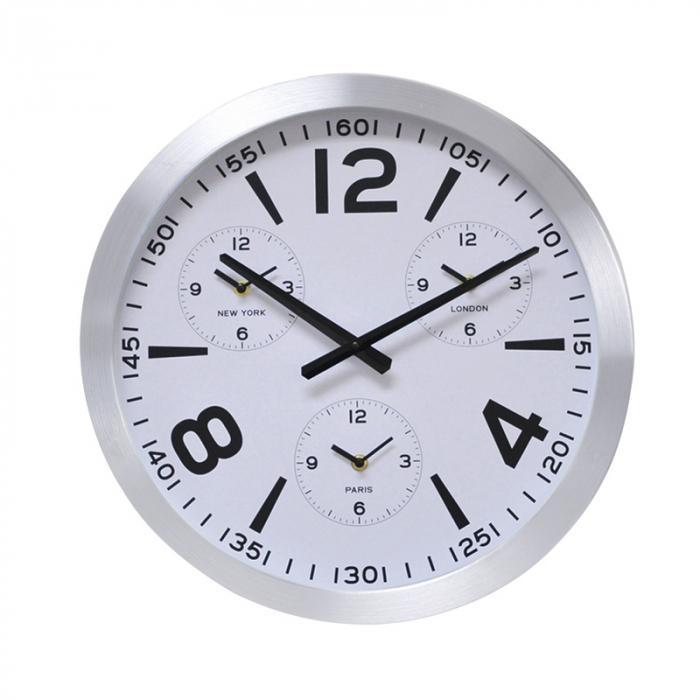 Ceas de perete din Aluminiu, 45.5x5.4cm, cadran Alb, rama groasa argintie 2