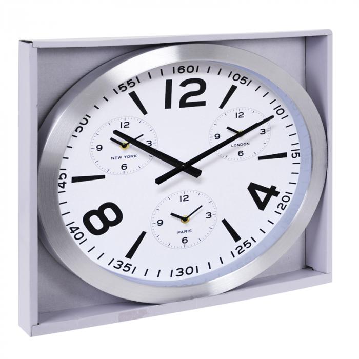 Ceas de perete din Aluminiu, 45.5x5.4cm, cadran Alb, rama groasa argintie 4