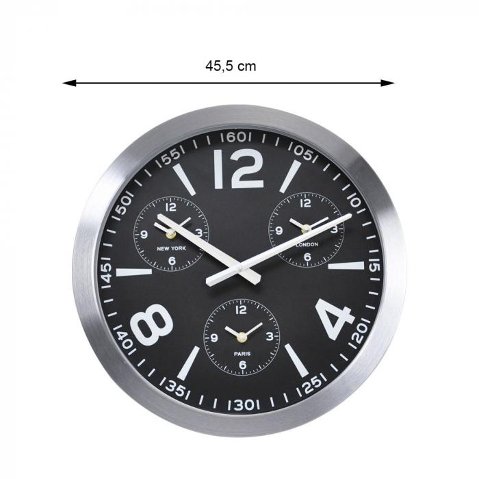 Ceas de perete din Aluminiu, 45.5x5.4cm, cadran Negru cu 3 ceasuri mici, rama groasa argintie 1