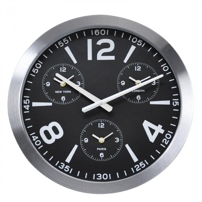 Ceas de perete din Aluminiu, 45.5x5.4cm, cadran Negru cu 3 ceasuri mici, rama groasa argintie 2