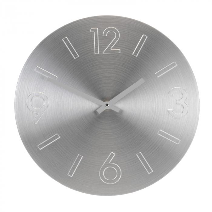 Ceas perete din Aluminiu, cu limbi Argintii, D 35cm, Argintiu 1