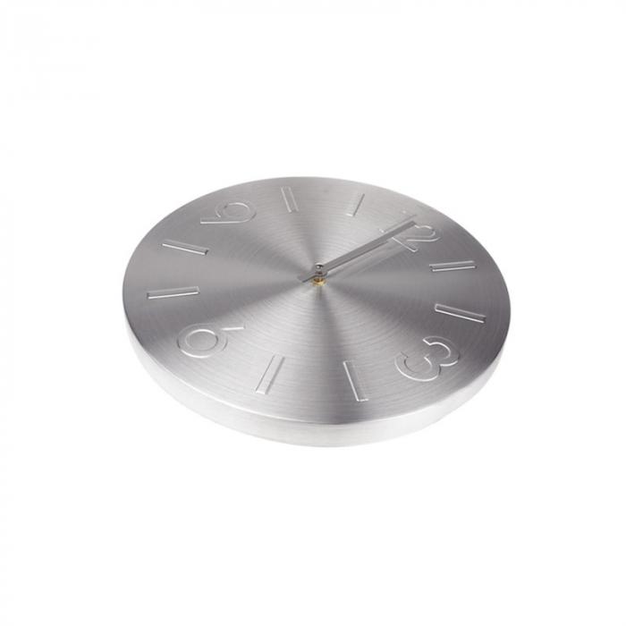Ceas perete din Aluminiu, cu limbi Argintii, D 35cm, Argintiu 2